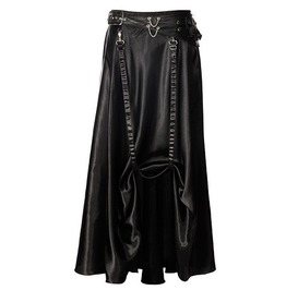 Steampunk Black Belted Satin Skirt Lk03098