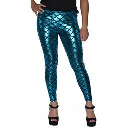 Shiny Teal Mermaid Leggings Design 208