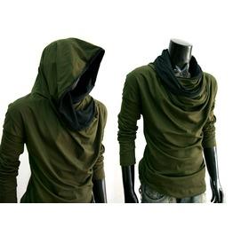 New Green Cowl Tunnel Neck Hoodie Cloak Long Sleeve Shirt Men S M L Xl 2 Xl