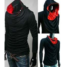 New Black Cowl Tunnel Neck Hoodie Cloak Long Sleeve Shirt Men S M L Xl 2 Xl