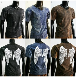 New Rusty Bleached Pre Washed Unisex T Shirt Graphic Wing Sz S M