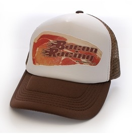 Toxico Clothing Unisex Brown White Bacon Racing Trucker Hat