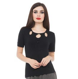 Voodoo Vixen Clothing Georgiana Tea Party Blouse Black, Red, And Blue