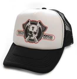 Toxico Clothing Unisex Black White Axe Skull Logo Trucker Hat