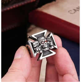 Skull Iron Cross Ring For Men Red Stone Stainless Steel Men's Ring