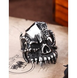 Men Canine Terror Cool Punk Biker Dragon Claw Skull Ring