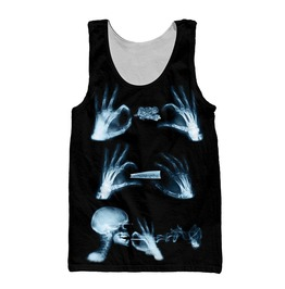 X Ray Smoking Skeleton Print Unisex Tank Top
