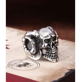 Stainless Steel Punk Demon Skull Ring Men's
