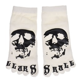 White Skull Print Five Toe Socks