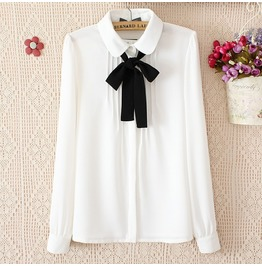 Long Sleeve Peter Pan Collar Bow Tie Pleated Design Women's