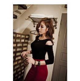 Long Sleeve Off Shoulder Tops Slim Knitted Casual Yellow Black T Shirt