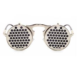 Cool Metal Flip Retro Steampunk Sunglasses Circles