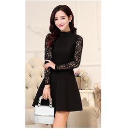 Office Lace Dress Pacthwork Long Sleeve Plus Size Women's