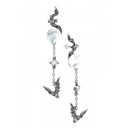 Eventide Alchemy Gothic Pair Earrings Vampire With Bats And Moon Style E318