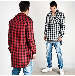 Neat Checkered Unbalance Roll Up Linen Long Shirts 124