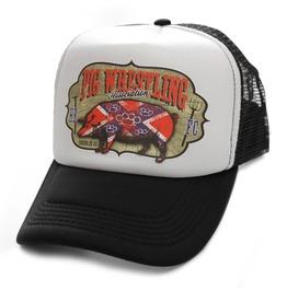Toxico Clothing Unisex Black White Pig Wrestling Trucker Hat