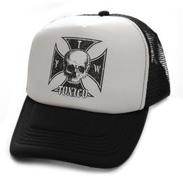 Toxico Clothing Unisex Black White Iron Cross Trucker Hat