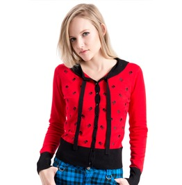 Voodoo Vixen Clothing Red Polkaskulls Cardigan With Bow Tie