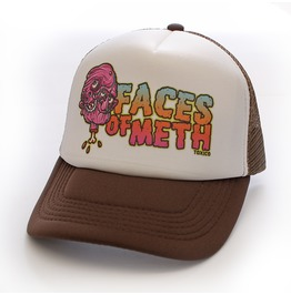 Toxico Clothing Unisex Brown White Faces Of Meth 2 Trucker Hat