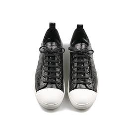 Black Crocodile Pattern Kip Leather Contrast Lubber Tip Sneakers 163