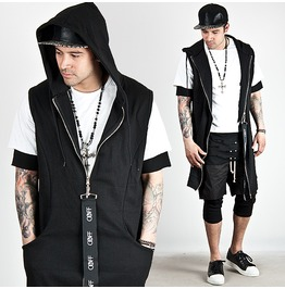 Big Strap Zipper Accent Black Hood Zip Up Vest 64
