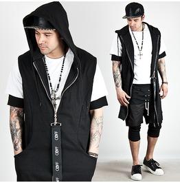 Big Strap Zipper Accent Black Hood Zip Up Vest 64