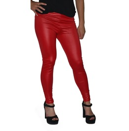 Red Faux Leather Leggings Design 419
