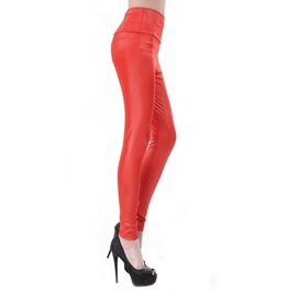 Red Faux Leather High Waist Leggings Design 369