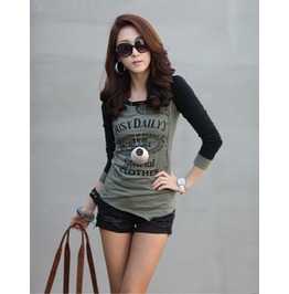 Army Green Adn Black Printed Cotton T Shirt Long Sleeve