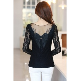 Multicolor Bow White Lace Blouse Top Long Sleeve Shirt Women Blouses