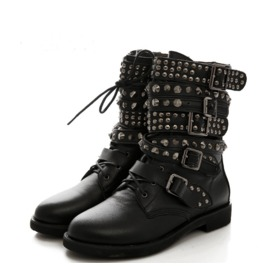 Women's Black Gothic Rivet Ankle Boots