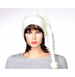 Off White Stocking Cap Pastel Goth Tail Hat With Pompom