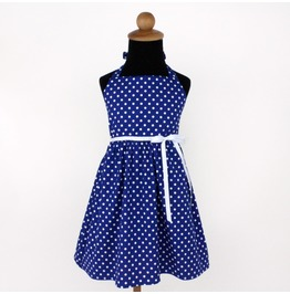 Vintage Inspired Blue Polka Dot Girl's Dress