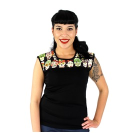 "Frida And Skulls ""Two Tone"" Top Black"