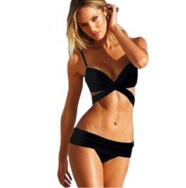 Women's Black/White Sexy Bandage Bikini Swimsuit