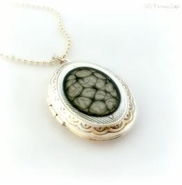 Black Honeycomb Locket, Handmade Gothic Jewelry