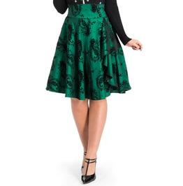 Voodoo Vixen Clothing Evangeline Velvet Peacock Print Skirt