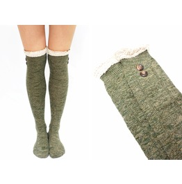 Greenish Lace Trim Button Knit Over Knee Boot Socks