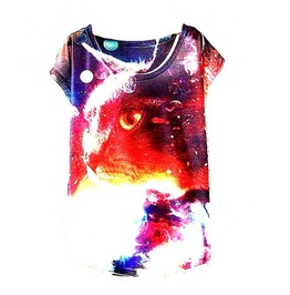 Colourful Space Cat Design T Shirt One Size