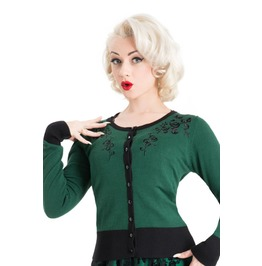 Voodoo Vixen Clothing Tammy Beautiful Wintery Green Cardigan