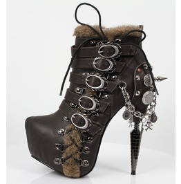 Steampunk Gothic Goth Punk Rock Brown Boots Booties Adler By Hades
