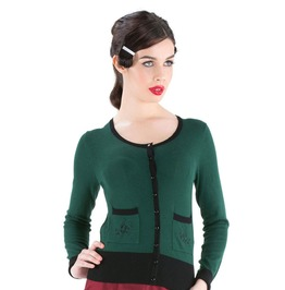 Voodoo Vixen Clothing Patricia Beautiful Wintery Green Cardigan