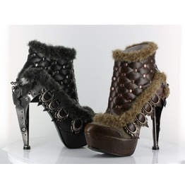 Steampunk Gothic Goth Punk Rock Burlesque Brown Boots Booties Agnes Hades