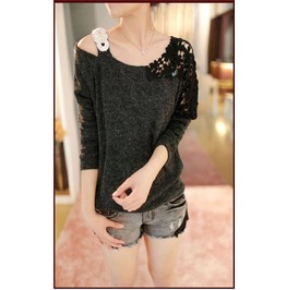 Off Shoulder T Shirt Lace Long Sleeve Women's