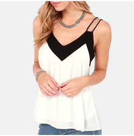 V Neck Womens Sleeveless Halter Blouse Loose Chiffon Tank Tops Plus Size