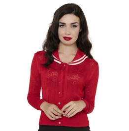 Voodoo Vixen Clothing Red Ship Shape Summer Cardigan