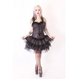 Gothic Dress Steampunk Lace Metallic Pink Fabric Phaze Clothing
