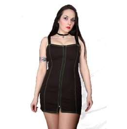 Goth Mini Dress Zip Up Green Fluorescent Stitching Phaze Clothing