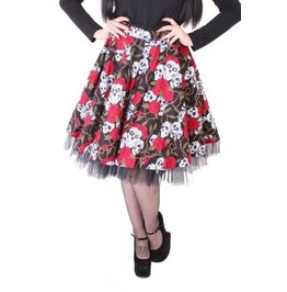 Skull And Rose Skirt With Net Phaze Clothing