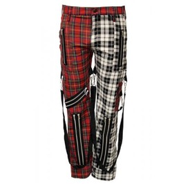 Tartan Bondage Trousers 2 Colour Zips Straps Phaze Clothing Size